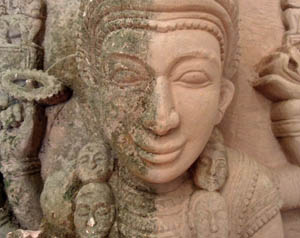 Indian sculpture cleaning